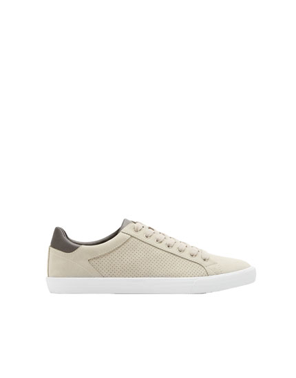 Beige die-cut sneakers
