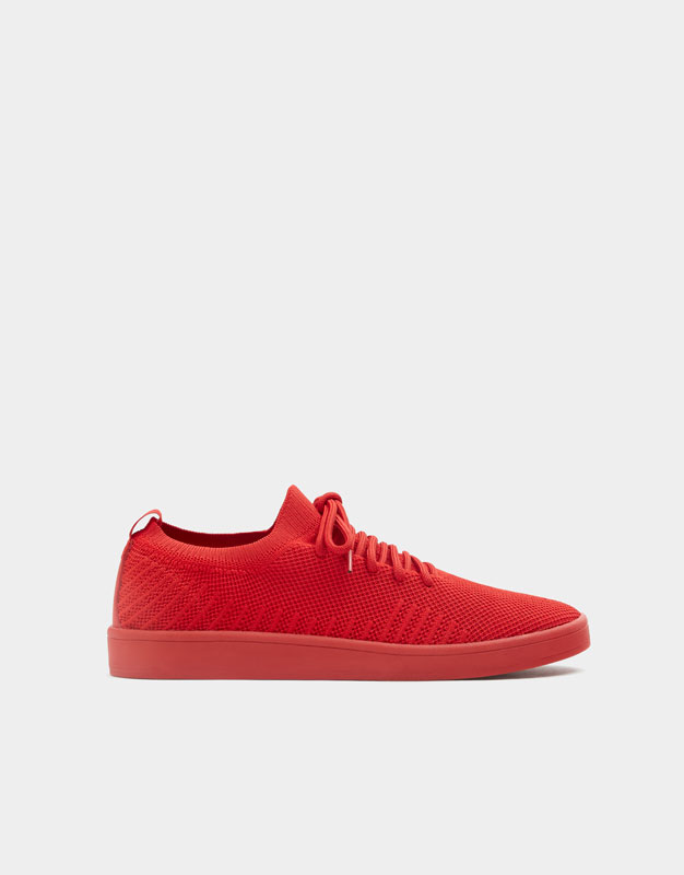 Pull & Bear - Red knit fabric trainers - 1
