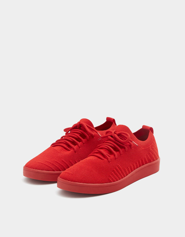 Pull & Bear - Red knit fabric trainers - 2