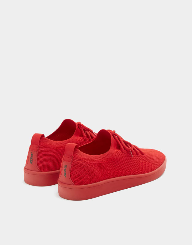 Pull & Bear - Red knit fabric trainers - 3