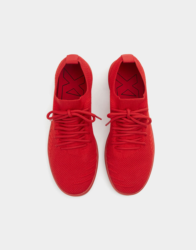Pull & Bear - Red knit fabric trainers - 4
