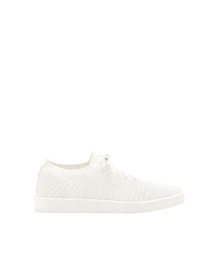 White knit sneakers