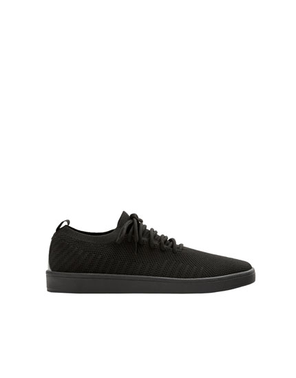 Black knit fabric trainers