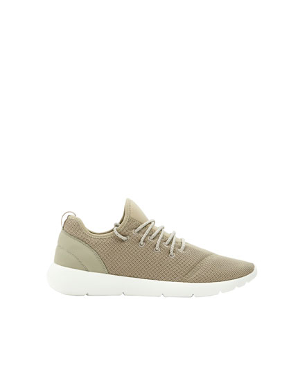 Sand-coloured technical sneakers