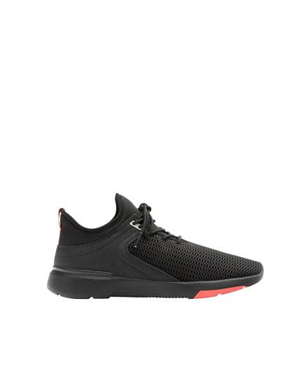 Pantofi sport stretch negri