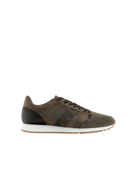 Khaki retro trainers