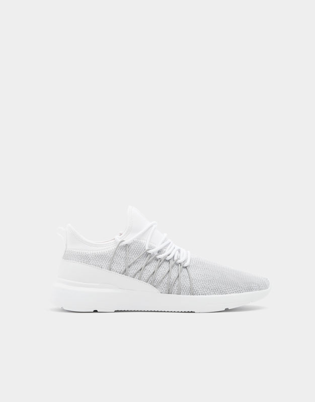 Printed White Lace Up Sneakers by Pull & Bear
