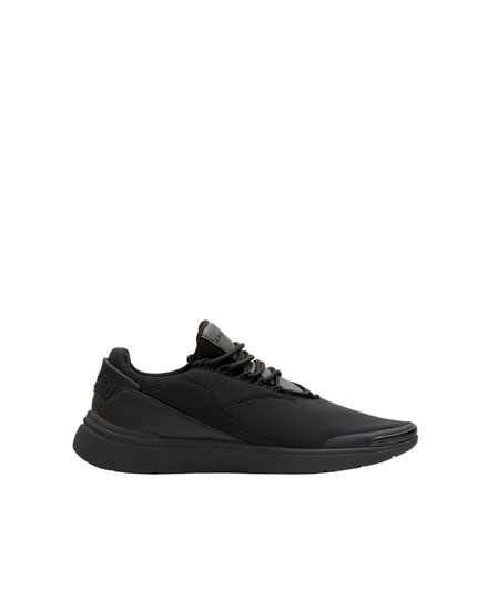 Black technical fabric trainers