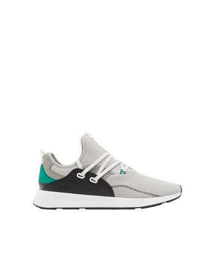 Pantofi sport gri stil șosetă strap