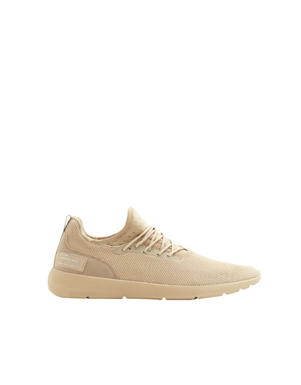 Beige sock-style trainers