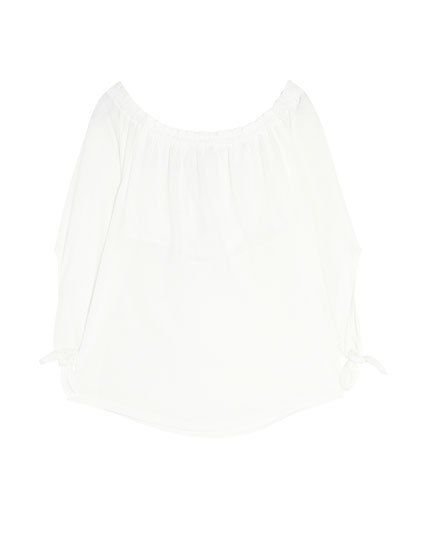 Basic gathered T-shirt    Off-the-shoulder T-shirt