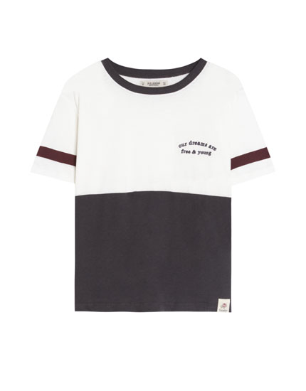 Colour block T-shirt with slogan