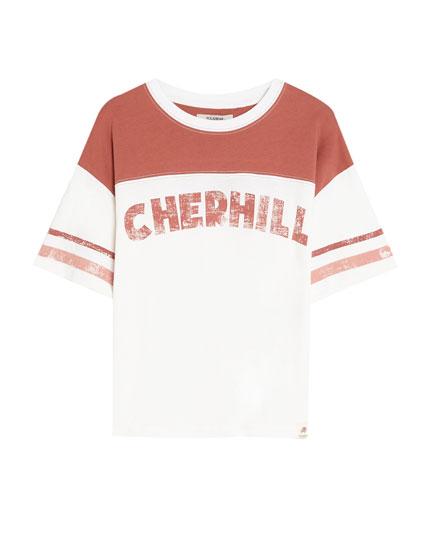 T-Shirt im Colorblock-Design mit Schriftzug