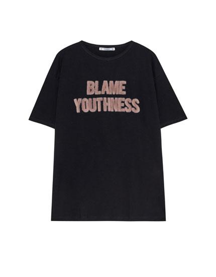 Camiseta texto 'blame'