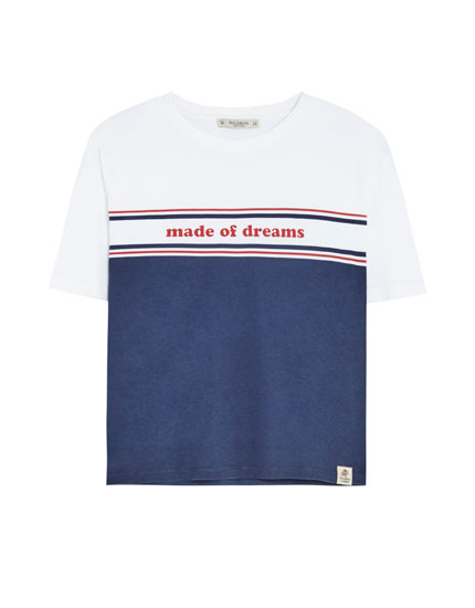 Colour block T-shirt with slogan