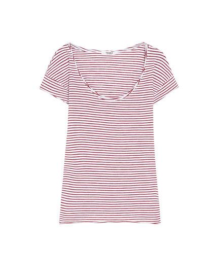 Camiseta cuello redondo rayas