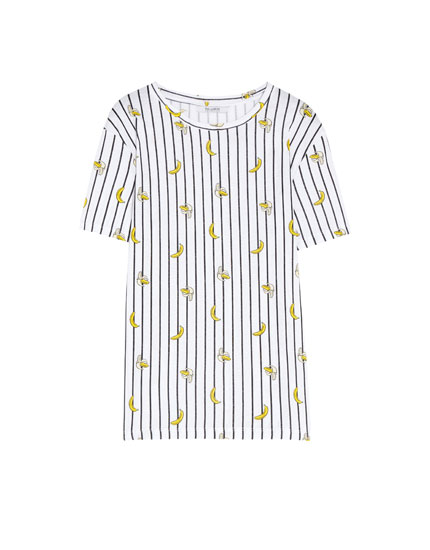Tricou all over print cu dungi și banane