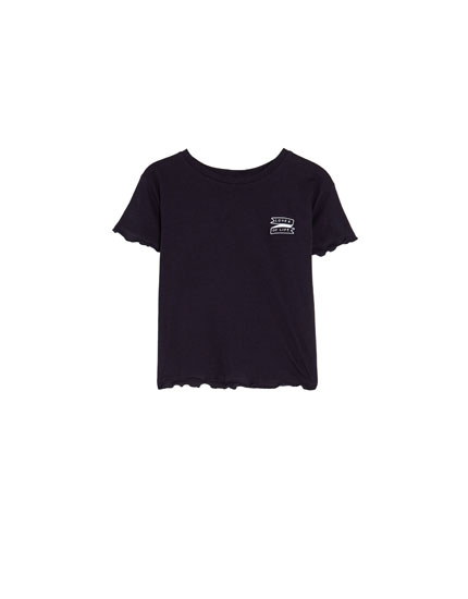 Basic blue T-shirt with embroidery