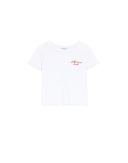 Basic white T-shirt with embroidery