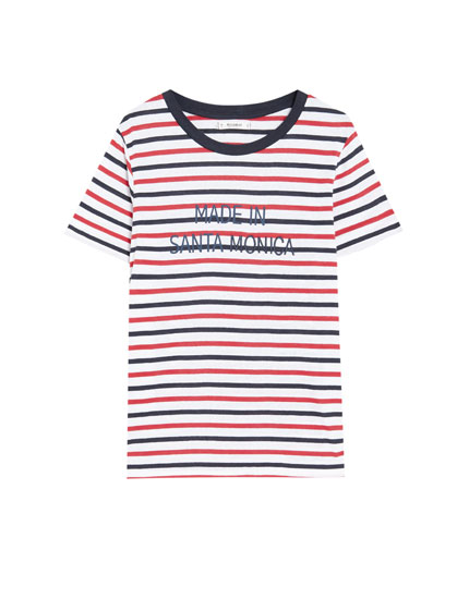 Short sleeve T-shirt with two-tone stripes