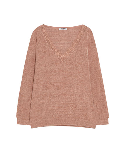 Sweater i chenille med blonde