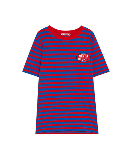 Striped T-shirt with contrasting trim