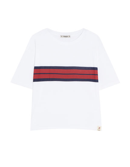 Basic T-shirt with contrasting stripe
