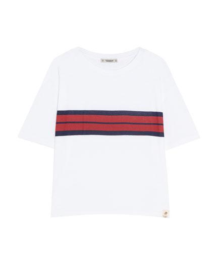 Basic t-shirt med stribe i kontrast