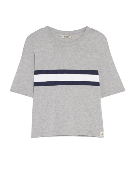 Basic T-shirt with contrasting striped panel