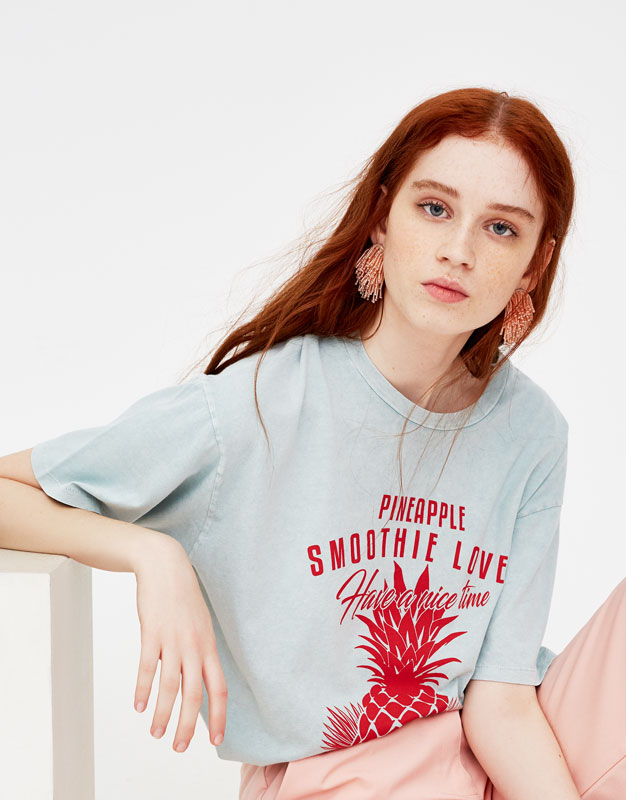 Maglietta Stampa Ananas by Pull & Bear