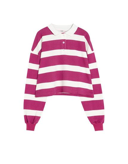 Striped long sleeve polo shirt