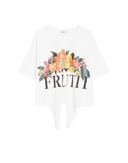 Fruit T-shirt with a knot