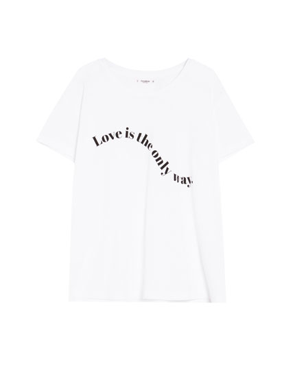 Short sleeve slogan T-shirt