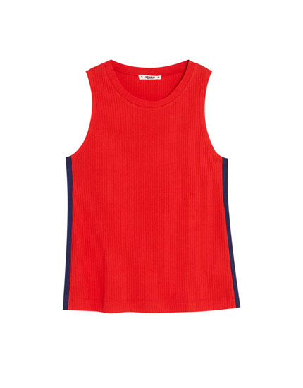 Ribbed T-shirt with side stripes