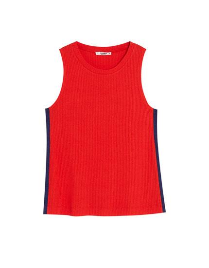 Basic-Shirt mit kontrastfarbenem Streifen