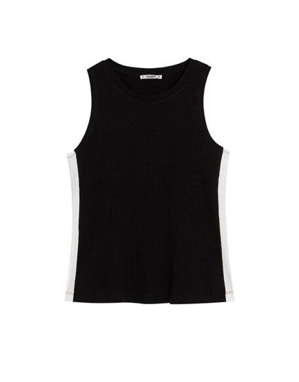 Camiseta básica con franja en contraste