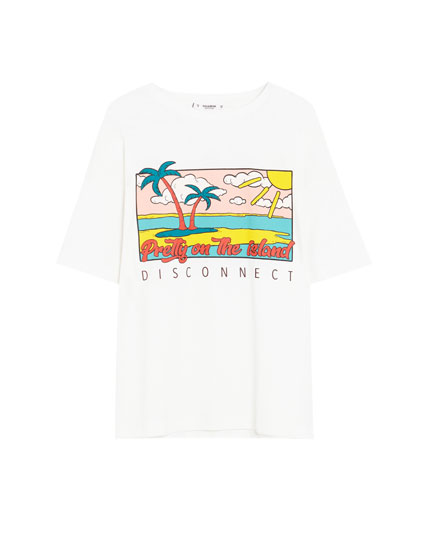 Short sleeve T-shirt with tropical illustration