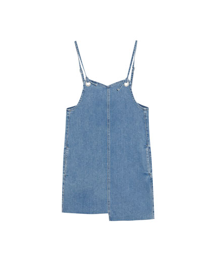 Denim dress with uneven hem