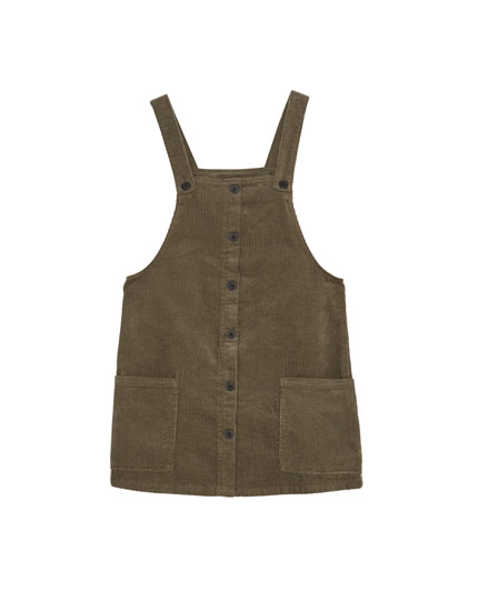 Corduroy pinafore dress with front buttons