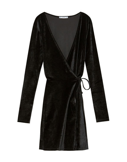 Crossover velvet dress