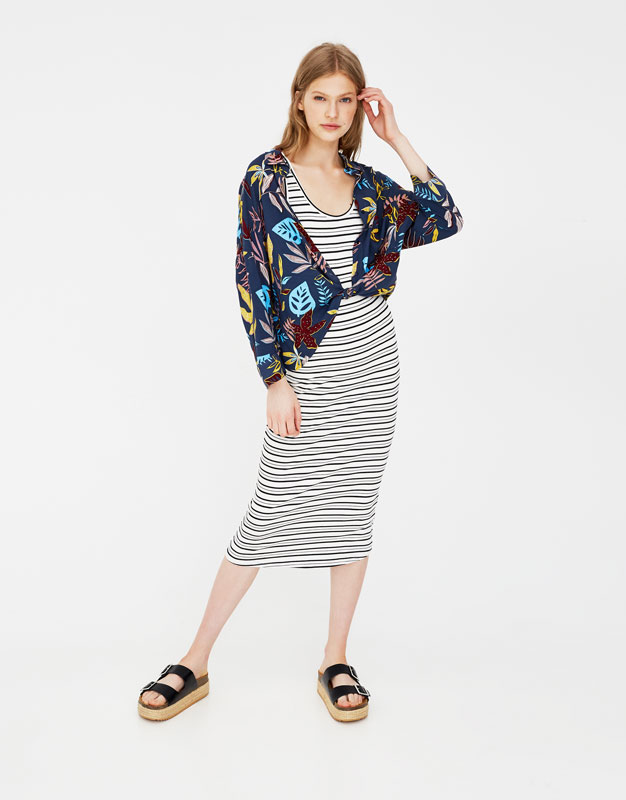 82baf37371b4 Striped fitted midi dress - Dresses - Clothing - Woman - PULL BEAR ...