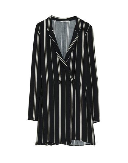 Robe-combinaison coupe veste à rayures