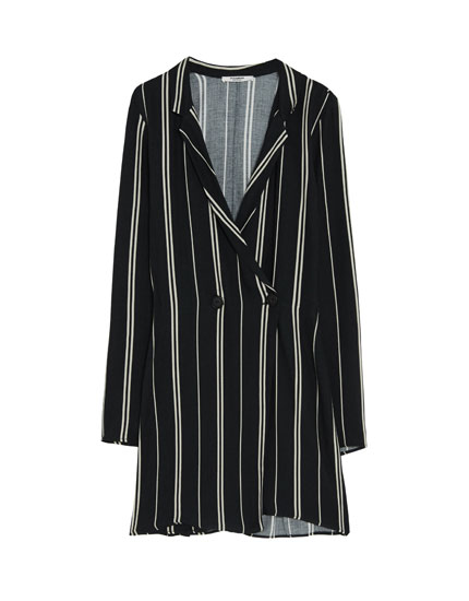Striped dress-jumpsuit blazer