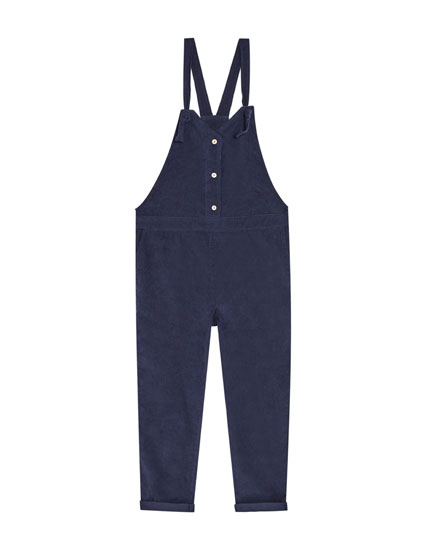 Fine corduroy dungarees with front buttons