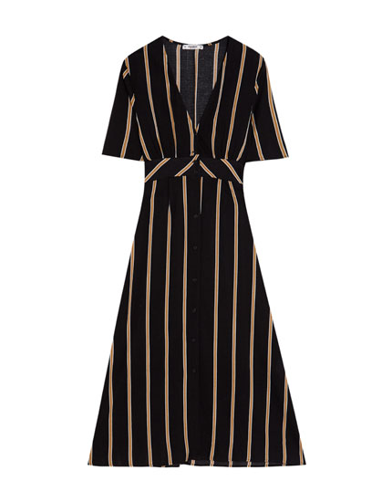 Long V-neck striped dress