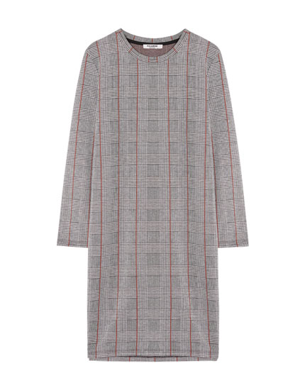 Checked long sleeve dress