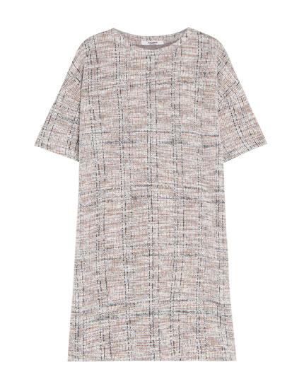 Checks and rainbow knit dress