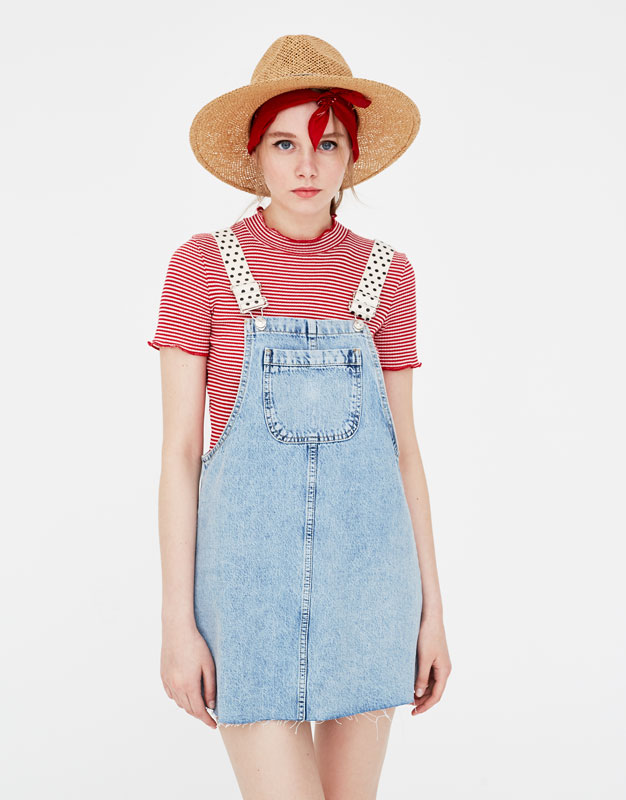 Denim Pinafore Dress With Embellished Straps by Pull & Bear