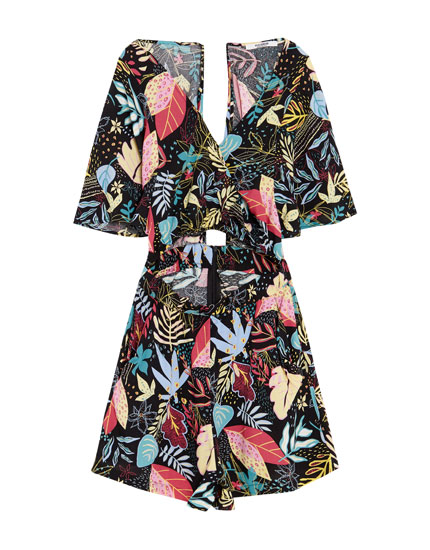 African-print cut-out jumpsuit