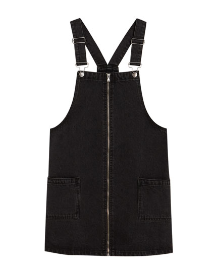 Denim pinafore dress with front zip